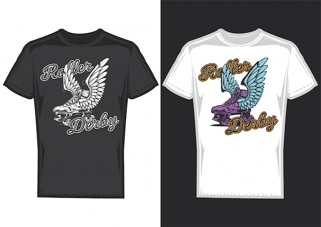 T-shirt design on 2 t-shirts with posters of rollers with wings.