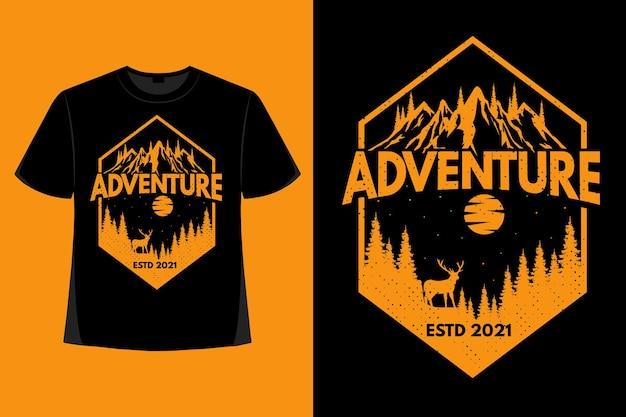 T-shirt design of adventure pine deer mountain retro vintage illustration