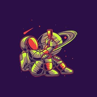 惑星の背景の銃のイラストに対して銃を保持している座っている位置にtシャツデザインの宇宙飛行士