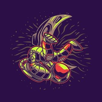 月の背景を持つtシャツデザイン宇宙飛行士ブレイクダンスイラスト