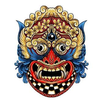 Дизайн футболки barong rangda бали стиль гравировки иллюстрация