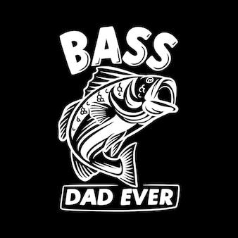 Дизайн футболки бас-папа с бас-рыбой и винтажной иллюстрацией на черном фоне