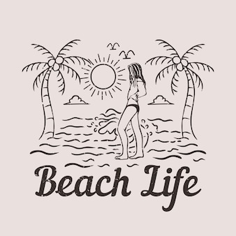 T shirt design beach life with woman on the beach vintage illustration