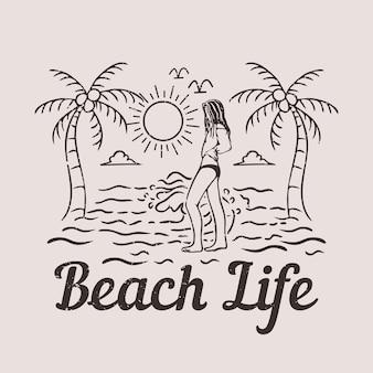 Дизайн футболки пляжная жизнь с женщиной на пляже винтажная иллюстрация