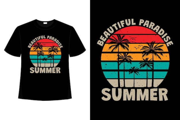 T-shirt design of beautiful paradise summer palm tree sunset color in retro style