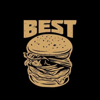 Дизайн футболки лучше всего с гамбургером и черным фоном винтажной иллюстрации