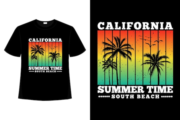 T-shirt design of california summer time south beach sunset color in retro style