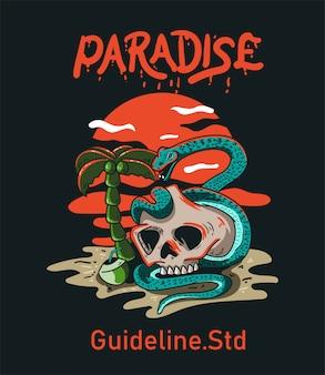 T 셔츠 디자인 캐릭터 두개골과 뱀 파라다이스 빈티지
