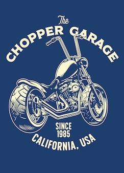 T-shirt design of chopper motorcycle garage
