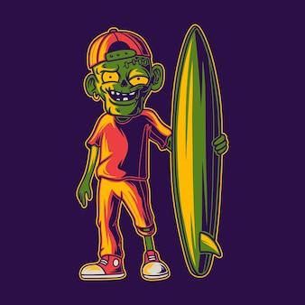 T 셔츠 디자인 멋진 좀비 서핑 그림