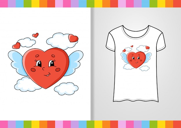 Дизайн футболки. милый персонаж на рубашке. нарисованный от руки. красочные векторные иллюстрации