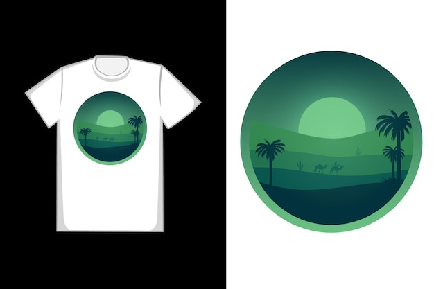 T-shirt design desert at night is green