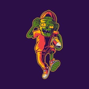 공 축구 일러스트와 함께 달리는 좀비의 티셔츠 디자인 전면 시야