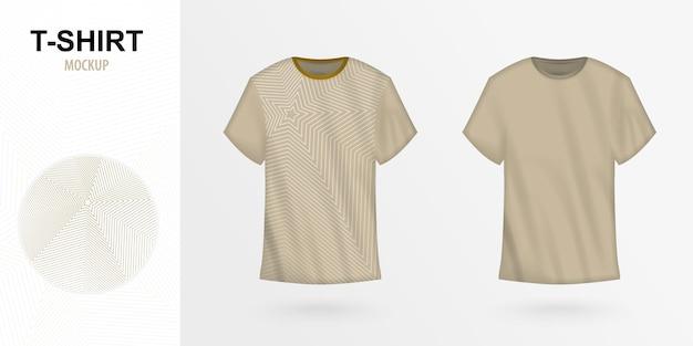 Tシャツデザインの正面図、星型のメンズtシャツモックアップ。ベクトルイラスト。