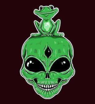 Tシャツのデザイン手描きのエイリアンとカエルの緑