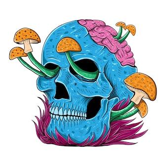 티셔츠 디자인 손으로 그려진 해골 버섯 다채로운 그림