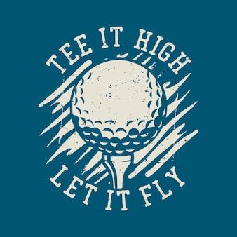 T shirt design i'd rather be golfing with golf stick vintage illustration