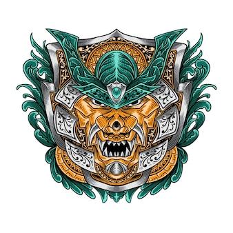 T 셔츠 디자인 일본 한냐 오니 마스크