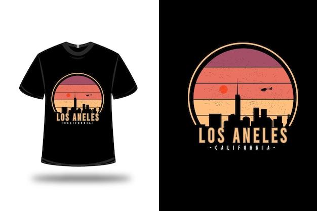 Tシャツのデザイン。黄色とオレンジ色のロサンゼルス