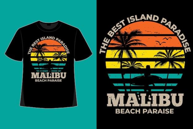 T-shirt design of malibu beach paradise island style retro vintage illustration