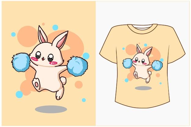 T 셔츠 디자인 mockup 쾌활한 토끼 만화 일러스트 레이션