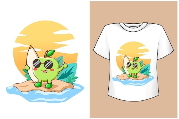 Макет футболки милое яблоко летом