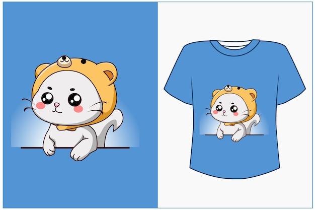Макет дизайна футболки милый кот мультфильм иллюстрация