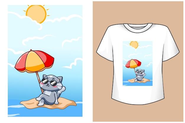 Макет дизайна футболки милый кот на пляже летом