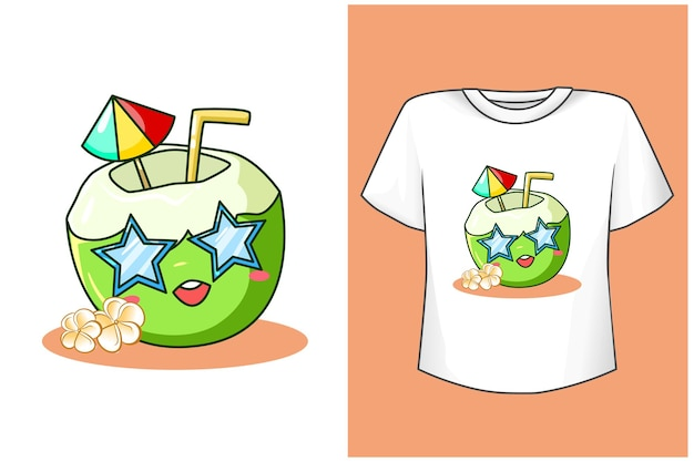 T shirt design mockup cute coconut in beach