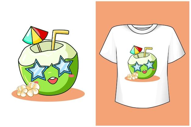 ビーチでtシャツデザインモックアップかわいいココナッツ