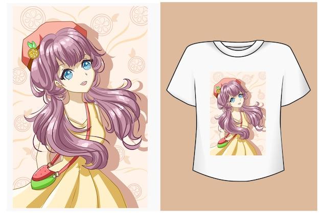 여름에 오렌지와 t 셔츠 디자인 모형 귀여운 소녀
