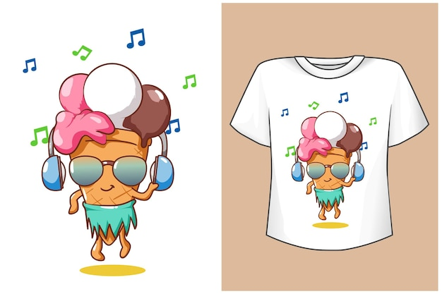 T shirt design mockup cute ice cream in summer