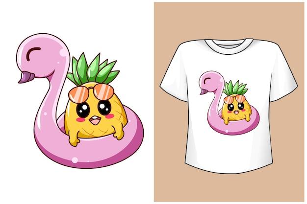 Макет дизайна футболки милый ананас на пляже летом