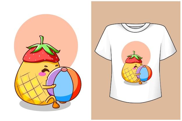 Макет дизайна футболки милый ананас летом