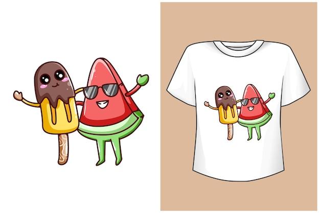Макет дизайна футболки милый арбуз и милый мультфильм мороженое