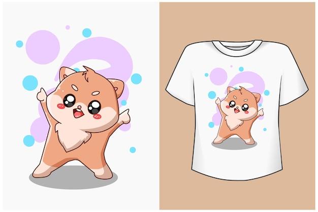 Макет дизайна футболки счастливый кот мультфильм иллюстрация