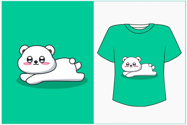T shirt design mockup happy white bear cartoon illustration