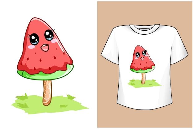 Футболка дизайн макет мороженое арбуз