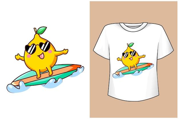夏のtシャツデザインモックアップサーフィンレモン Premiumベクター