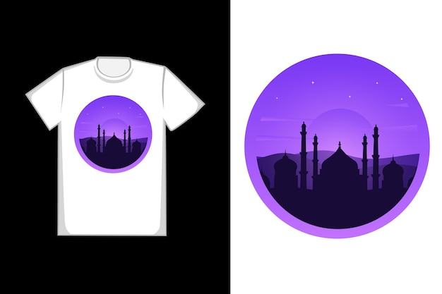 T-shirt design mosques in the desert are dark black and purple