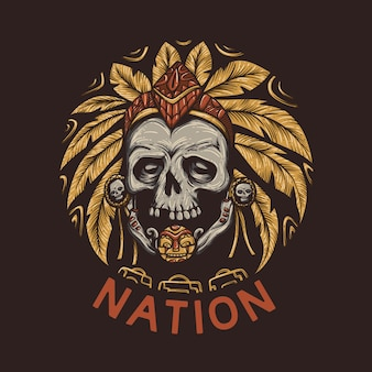 T shirt design nation with skull of head chief and brown background vintage illustration