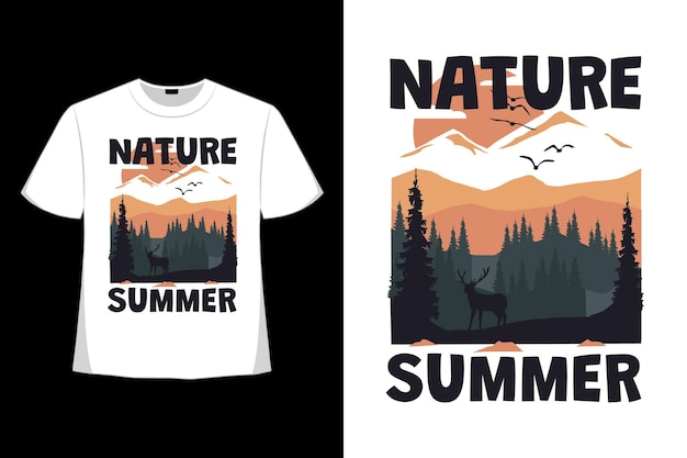 T-shirt design of nature landscape summer deer hand drawn in retro style