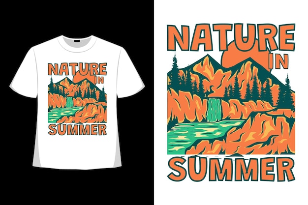 T-shirt design of nature summer mountain tree hand drawn in retro style