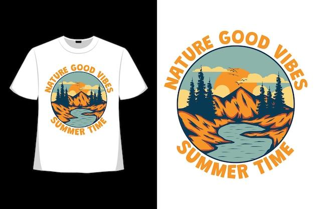 T-shirt design of nature vibes summer time mountain lake hand drawn in retro style