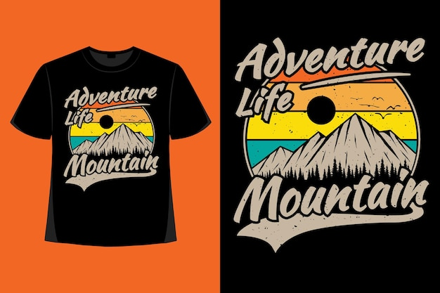 アドベンチャーライフマウンテンパイン手描きレトロヴィンテージイラストのtシャツデザイン