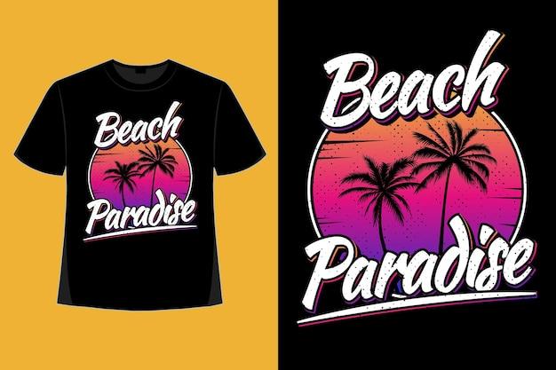 해변 낙원 일몰 아름다운 그라데이션 스타일의 복고풍 빈티지 일러스트의 티셔츠 디자인