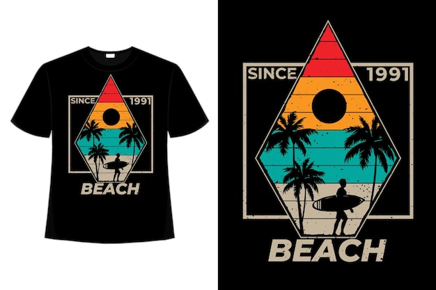 해변 서핑 야자수 복고풍 빈티지 일러스트의 티셔츠 디자인