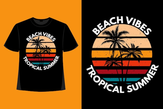 Дизайн футболки пляжных флюидов тропическое лето типография ретро винтаж иллюстрация
