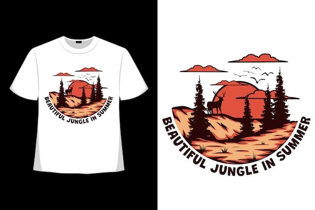 복고풍 스타일로 그려진 아름다운 정글 여름 사슴 언덕 손의 티셔츠 디자인
