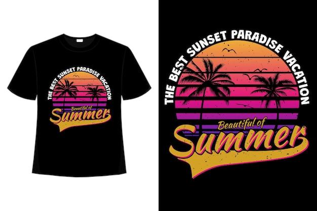 レトロなスタイルの美しい夏の楽園の休暇の t シャツ デザイン